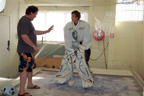 Jamo ja Rick Goalie roomissa